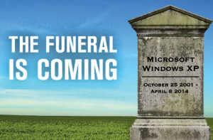 XP funeral funerale di Microsoft Windows XP logo